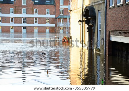 Flooded York by river Ouse in Yorkshire UK at december 2015
