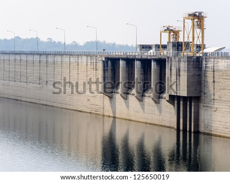 Floodgate of the largest dam in the eastern part of Thailand.