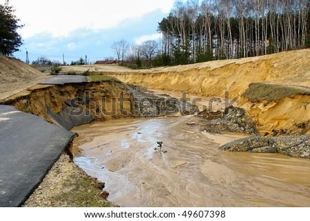 Flooding and destruction - stock photo