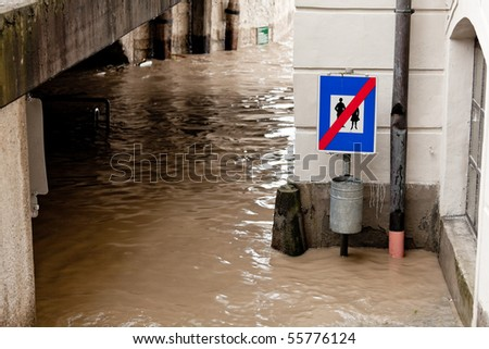 Flooding and flooding of streets in Steyr, Austria - stock photo