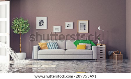 flooding in luxurious interior. 3d creative concept - stock photo