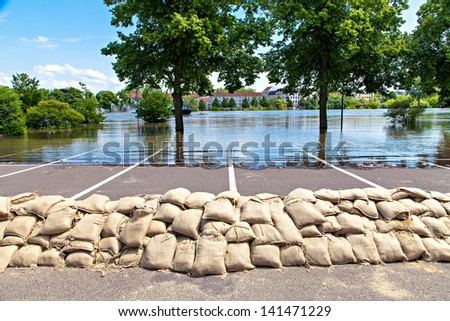 Flooding in Magdeburg, Germany, June 2013. Sandbags protect against the water - stock photo