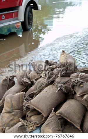 Flooding in Passau. Uayern. Germany. Sandbags to protect - stock photo
