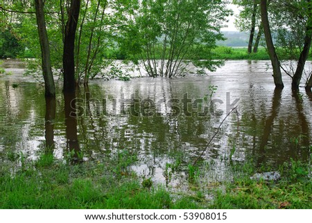 flooding in southern Poland, May 19, 2010 - stock photo