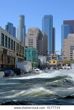 Flooding in the city - stock photo
