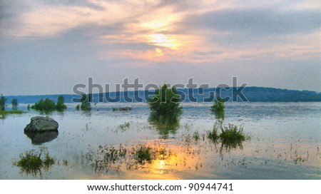 Flooding on a decline - stock photo