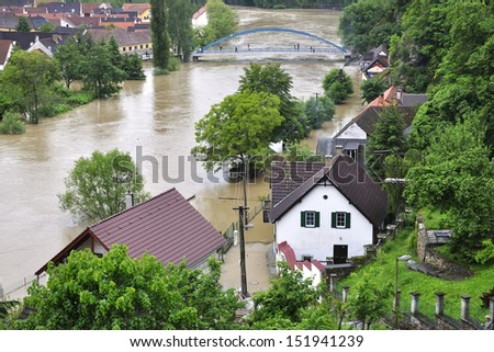 Flooding river Luznice, Czech Republic, village - Bechyne - stock photo