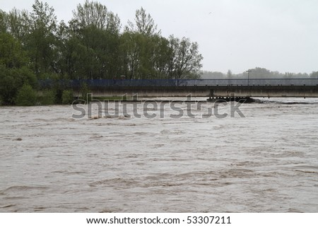 Flooding river Olza in north-east of Czech republic. Name of the village - Detmarovice. - stock photo