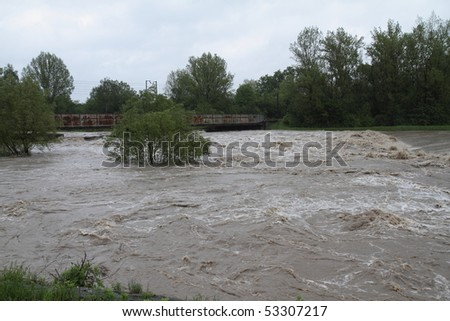 Flooding river Olza in north-east of Czech republic. Name of the village - Detmarovice.