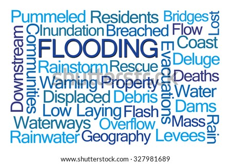 Flooding Word Cloud on White Background - stock photo