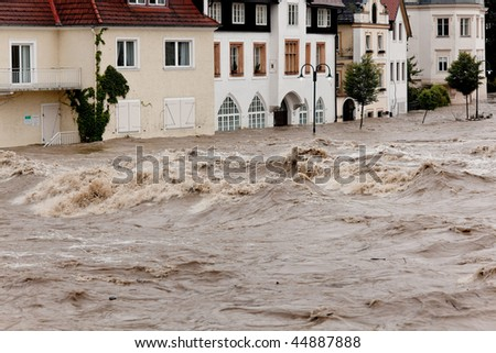 Floods and flooding of roads in Steyr, Austria