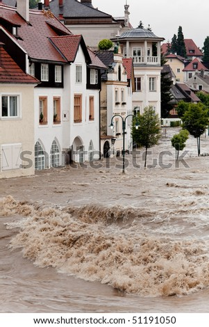 Floods and flooding the streets in Steyr, Austria - stock photo