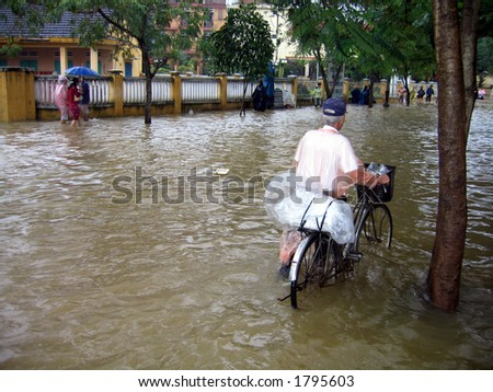 Floods in Asia - stock photo