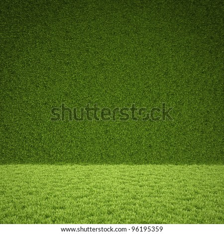 floor and wall of green grass. - stock photo