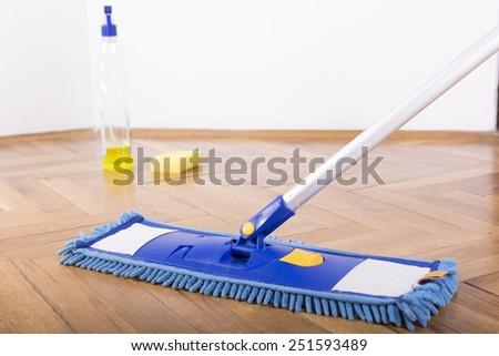 Floor cleaning mop, sprayer and sponge - stock photo
