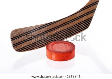 floor hockey puck close-up - stock photo