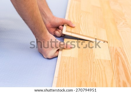 Floor. Installing Laminate Flooring - stock photo