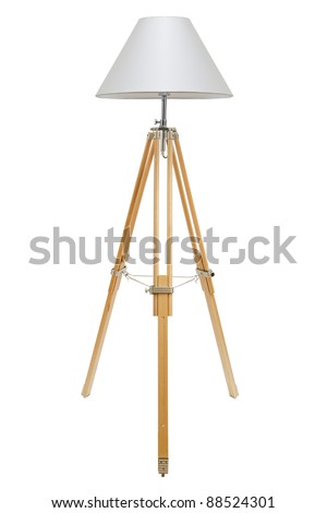 floor lamp for three wooden legs on a white background - stock photo