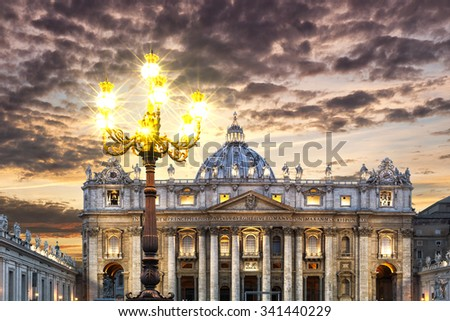 Floor lamp in front of the Basilica Saint Pietro, Rome, Italy - stock photo