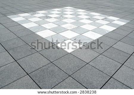 Floor mosaic in white and gray granite, background - stock photo