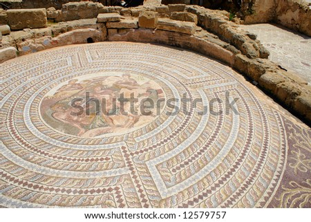 Floor mosaics at Theseus house - Paphos, Cyprus - stock photo