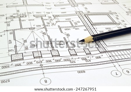 Floor plan designed building on the drawing - stock photo