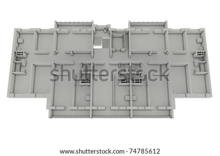 Floor plan house isolated on white. 3d render - stock photo