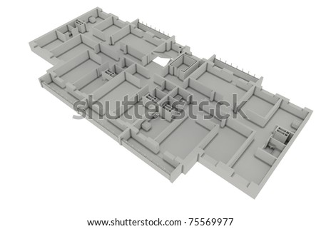 Floor plan house isolated on white. 3d render