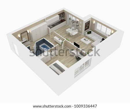 Floor Plan House Top View 3d Stock Illustration