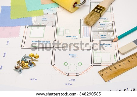 floor plan of house with choice color palette