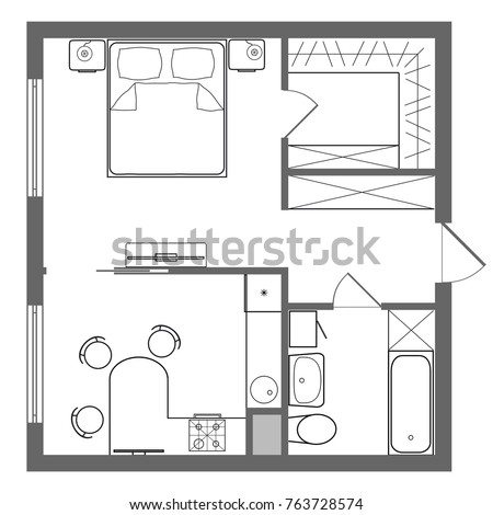 Floor Plan Studio Apartment Oneroom Apartment Stock Illustration 763728574    Shutterstock