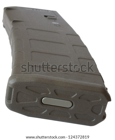 Floor plate on a high capacity polymer magazine for an assault rifle - stock photo