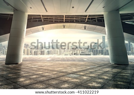 Floor platform and the modern construction background - stock photo