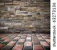 floor , room , stone wall, grunge  background - stock photo