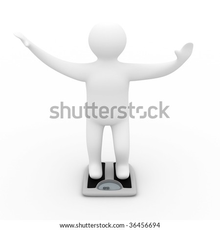 Floor scales on  white background. Isolated 3D image - stock photo