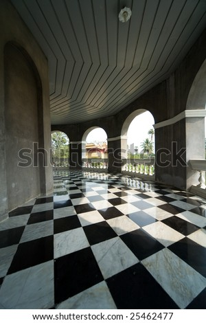 floor with retro checkered pattern - stock photo