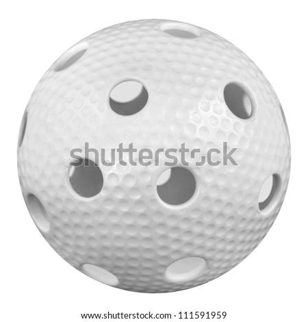 floorball ball isoled on white background - stock photo