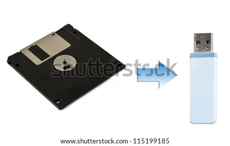 Floppy Disk and USB stick showing progress and changes in digital archiving - stock photo