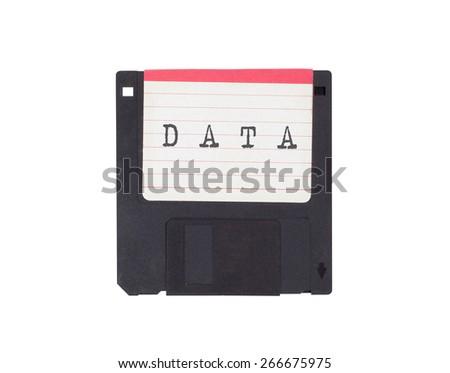 Floppy disk, data storage support, isolated on white - Data - stock photo