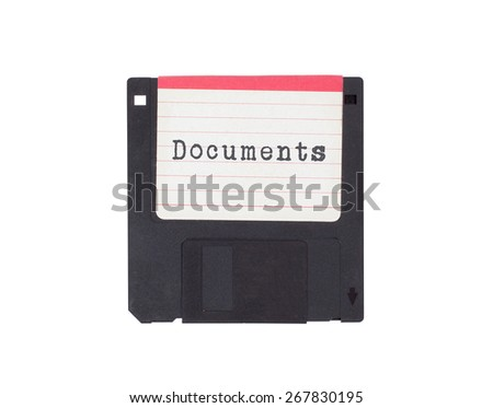 Floppy disk, data storage support, isolated on white - Documents - stock photo