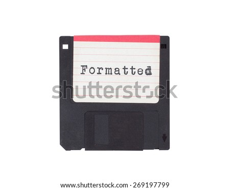 Floppy disk, data storage support, isolated on white - Formatted - stock photo