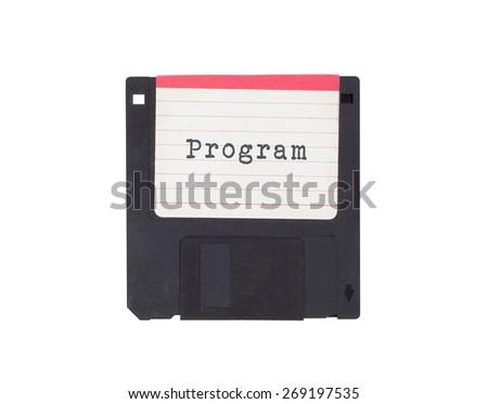 Floppy disk, data storage support, isolated on white - Program - stock photo