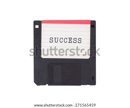 Floppy disk, data storage support, isolated on white - Success - stock photo