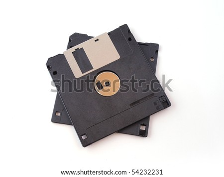 Floppy disk on an isolated white background.