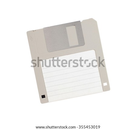 Floppy Disk - Tachnology from the past, isolated on white - empty label