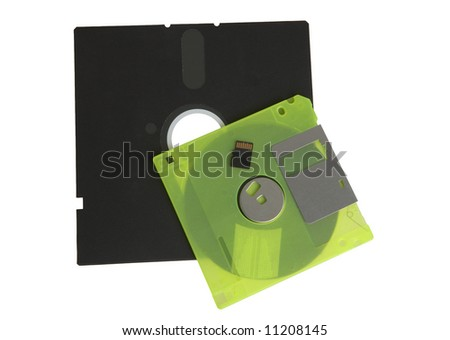 floppy disks and flash drive on white - stock photo
