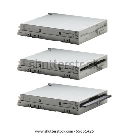 Floppy drive in three actions: empty, full and inserting. Body parts(viewpoint, focal length, size and etc) are identical - stock photo