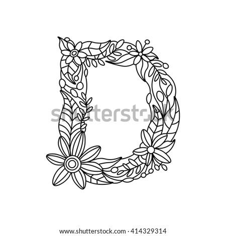 Floral Alphabet Letter Coloring Book For Adults Raster Illustration Zentangle Style Font