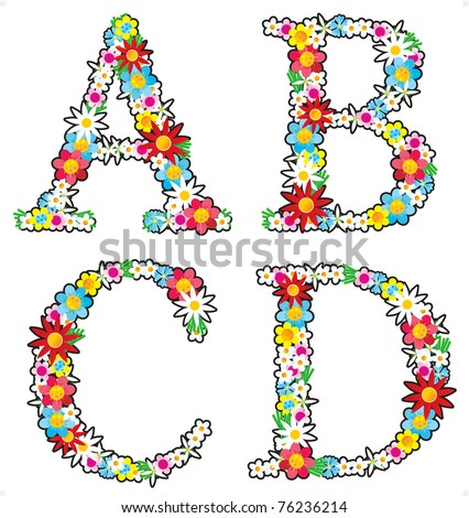 Floral alphabet set, letters A - D ( for vector EPS see image 76236211 )