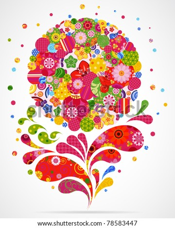 Floral and ornamental background. - stock photo